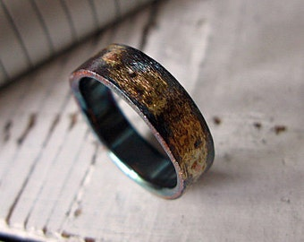 Mens Wedding Band Mens Comfort Fit Wedding Ring Oxidized Silver 6mm Black Gold Ring Brushed Artisan Unique Mens Wedding Ring Commitment