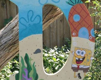 Spongebob Room decor, painted letters, nursery letters, hanging letters, painted, made to order, wooden letters