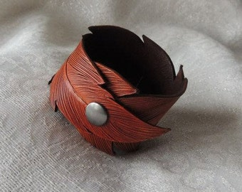 Leather Feather Handmade Cuff Bracelet or Scarf Cuff
