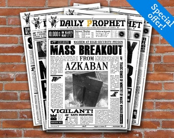 PRINTABLE Daily Prophet Covers - Harry Potter Newspaper Fourth Pack