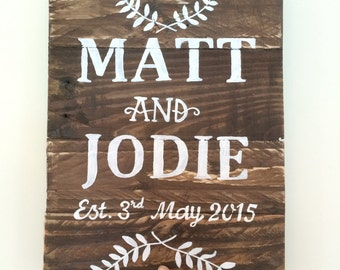 Pallet wood Rustic Sign - Hand Painted Personalised Wedding - Wedding Gift Memento
