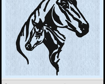 Mom and Baby Horse Embroidery Design - Fits 200mm x 200mm