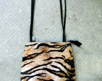 90s Tiger Animal Print Fur Bag! Leopard Grunge Purse