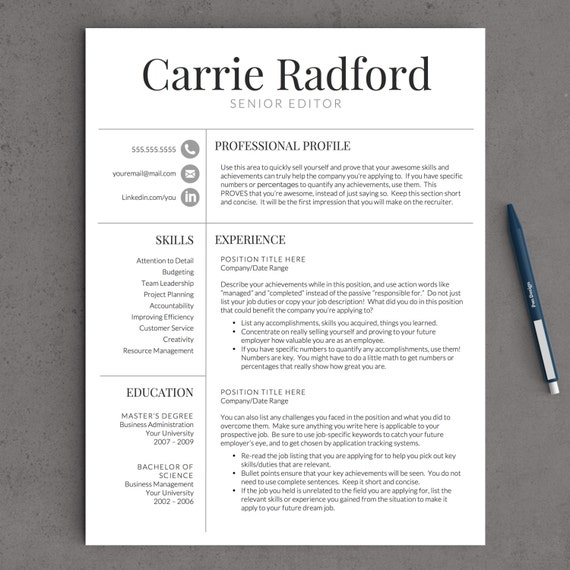 Photo Resume Templates Professional Cv Formats: Classic, Professional Resume Template For Word (US Letter And A4) 1 & 2 Page Resume Template