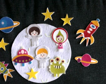 Astronauts and Outer Space Aliens Set #1 Felt Board // Flannel Board // Imagination // Children // Preschool //