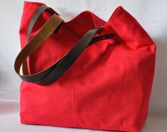 Red Canvas Bag, Large Bag, Slouchy Bag, Women Handbag,Shoulder Bag,Messenger Bag, Tote Bag