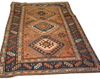 Antique Kazak Rug  - Antique Rug - Flatweave rug - Area Rug - 4.4x6.2 - 1800s