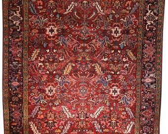 Antique Persian Heriz Rug, 7.10x8.10 - Handmade rug, Wool Rug, Area Rug, Home Decor, 1960s, 60s, Square rug, Heriz