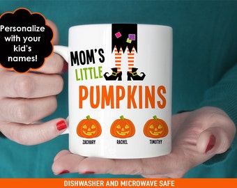 Mom's Halloween Coffee Mug - Mom's Little Pumpkins - Personalized Halloween Mug - Customize with Kids Names