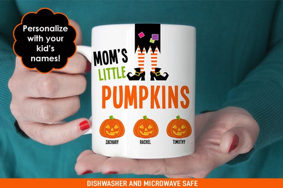 Mom's Halloween Coffee Mug - Mom's Little Pumpkins - Personalized Halloween Mug - Customize with Kids Names