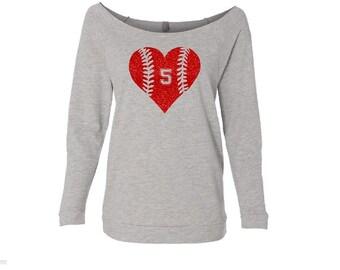 Baseball Mom Shirt. Baseball Mom. Softball Mom. Custom Baseball Shirt. Off Shoulder Shirt. Wideneck 3/4 Sleeve Shirt