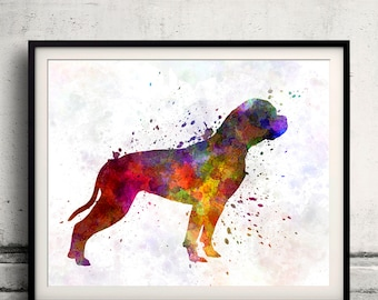 American Bulldog 01 in watercolor 8x10 in. to 12x16 in.  Fine Art Print Poster Decor Home Watercolor Illustration Dog - SKU 0997