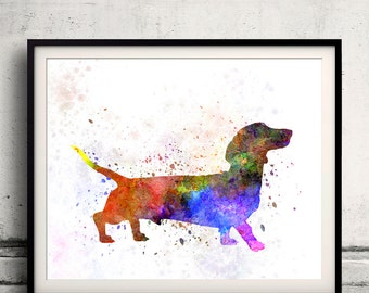 Short Haired Dachshund 01 in watercolor 8x10 in. to 12x16 in.  Fine Art Print Poster Decor Home Watercolor Illustration Dog - SKU 1009