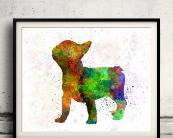 French Bulldog 01 in watercolor 8x10 in. to 12x16 in.  Fine Art Print Poster Decor Home Watercolor Illustration Dog - SKU 1013