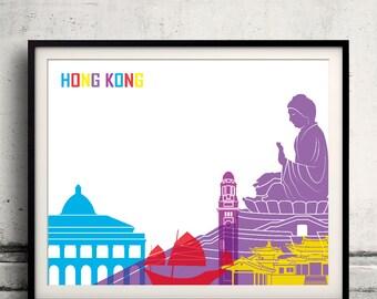 Hong Kong pop art skyline 8x10 in. to 12x16 in. Fine Art Print Glicee Poster Gift Illustration Pop Art Colorful Landmarks - SKU 0670