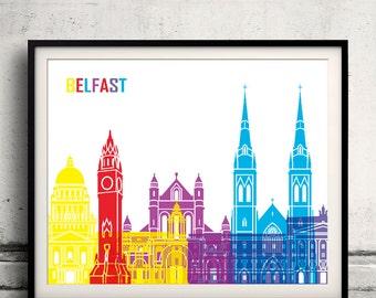 Belfast pop art skyline 8x10 in. to 12x16 in. Fine Art Print Glicee Poster Gift Illustration Pop Art Colorful Landmarks - SKU 0673