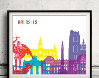 Brussels pop art skyline 8x10 in. to 12x16 in. Fine Art Print Glicee Poster Gift Illustration Pop Art Colorful Landmarks - SKU 0674