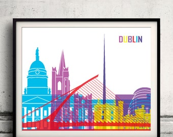 Dublin pop art skyline 8x10 in. to 12x16 in. Fine Art Print Glicee Poster Gift Illustration Pop Art Colorful Landmarks - SKU 0679