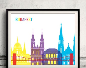 Budapest pop art skyline 8x10 in. to 12x16 in. Fine Art Print Glicee Poster Gift Illustration Pop Art Colorful Landmarks - SKU 0684