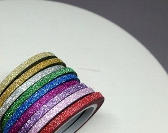 3mm glitter skinny washi tape rolls - gold, silver, green, blue, purple, lavender, pink, red washi tape - glitter washi - 3mm skinny washi