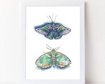 Watercolor Moths Print - Watercolor Art Print - Girls Room Art