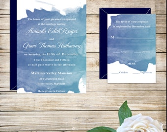 Blue Watercolor Contemporary Wedding Invitations