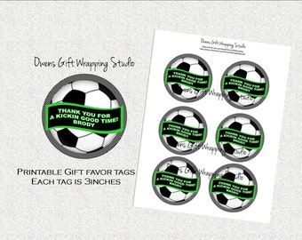 Soccer Gift Tags, Soccer Party Favor Tags, Soccer Party Decorations, Soccer Birthday Party