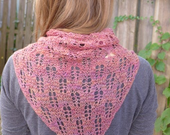 Pink Leaf - Silk and Alpaca Lace Shawl