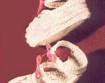 Crochet Double Strap Baby Booties PDF Pattern Instant Download