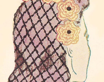 PDF Crochet Pattern 4-Way Flowered Snood Hairnet Hat Instant Download