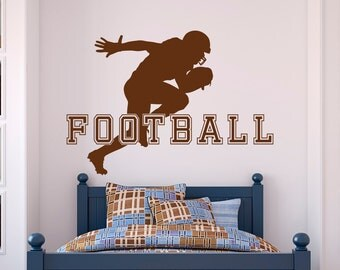 Football Wall Decal Sports Man American Football Player Sport Wall Decals  Vinyl Stickers Teens Boys Room