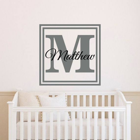 Name In Lights Wall Decor : Personalized Initial Name Wall Decal Monogram by FabWallDecals