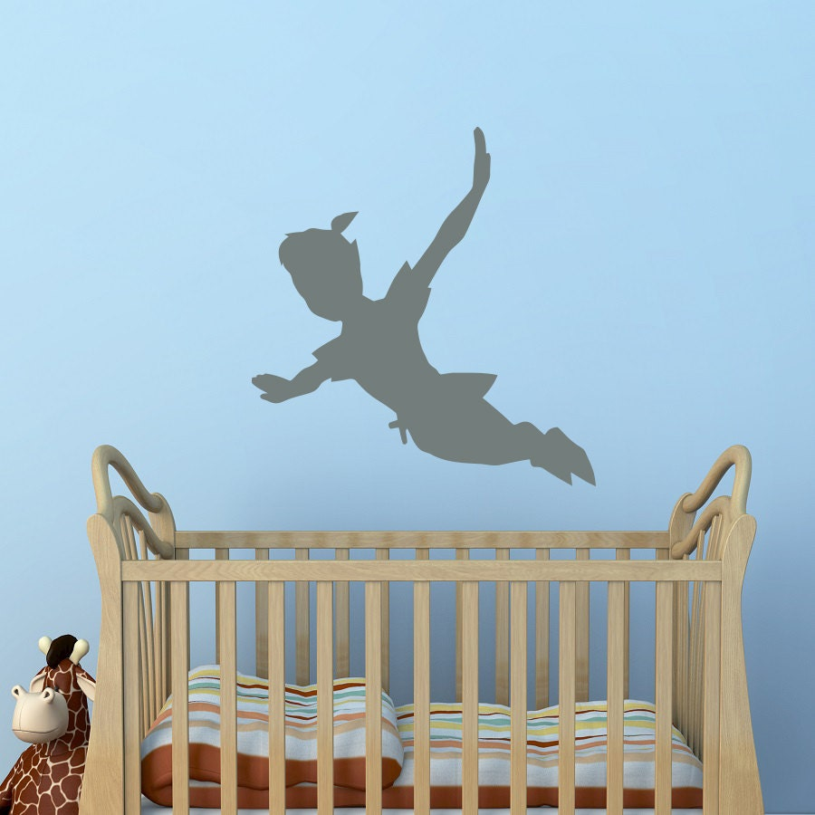 flying peter pan shadow wall decal vinyl sticker peter pan. Black Bedroom Furniture Sets. Home Design Ideas