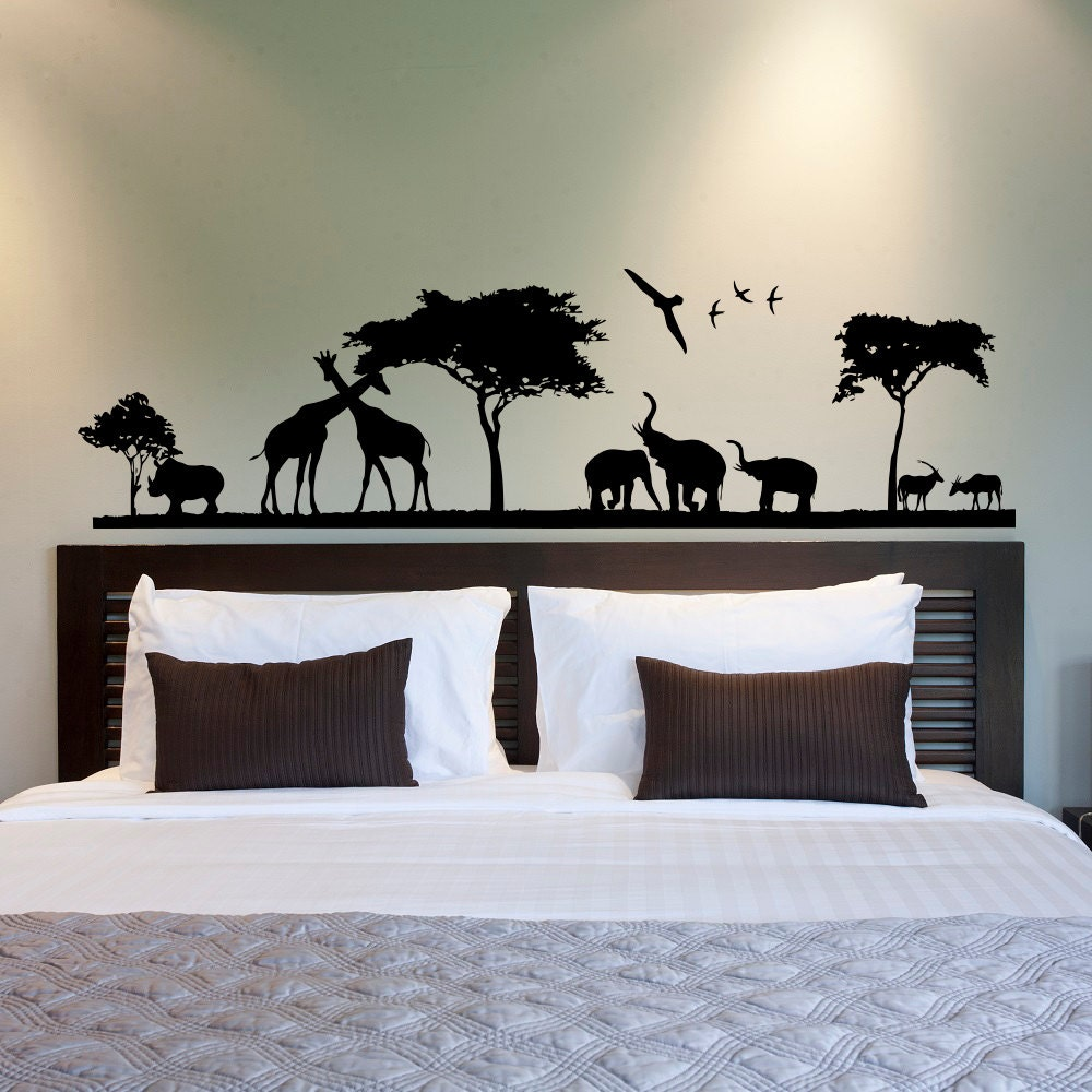 safari wall decal jungle wall decal animal wall decal. Black Bedroom Furniture Sets. Home Design Ideas