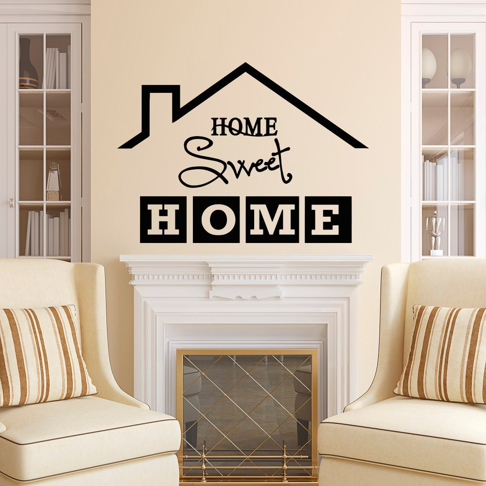 Home sweet home wall decal quote home sweet home sign vinyl - Home sweet home designs ...