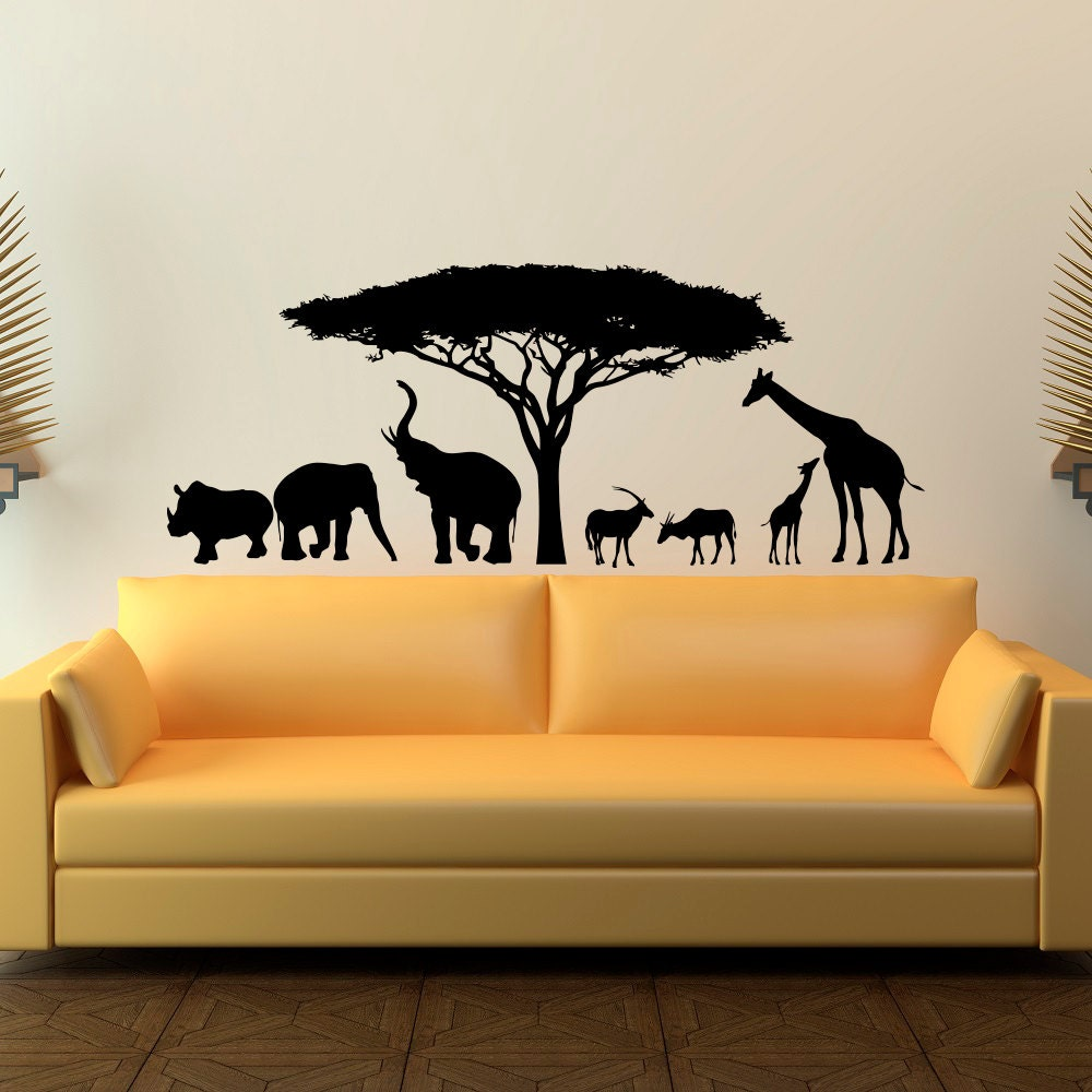 animal wall decal stickers safari wall decal wild animals. Black Bedroom Furniture Sets. Home Design Ideas