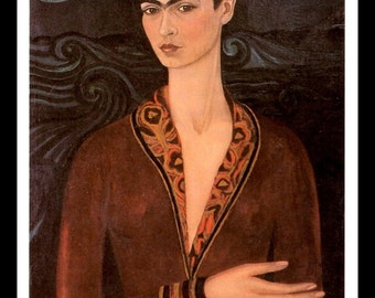 Frida Kahlo Print, Self Portrait Wearing A Velvet Dress, Vintage Print, 1990 Book Plate Page, Matted 8 x 10, Ready To Frame
