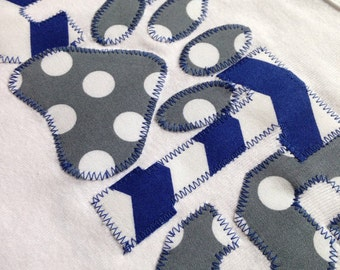 Kentucky Wildcats Baby Onesie- LONG SLEEVE - CATS Paw Print Onesng Sleeve - Blue Gray - Handmade