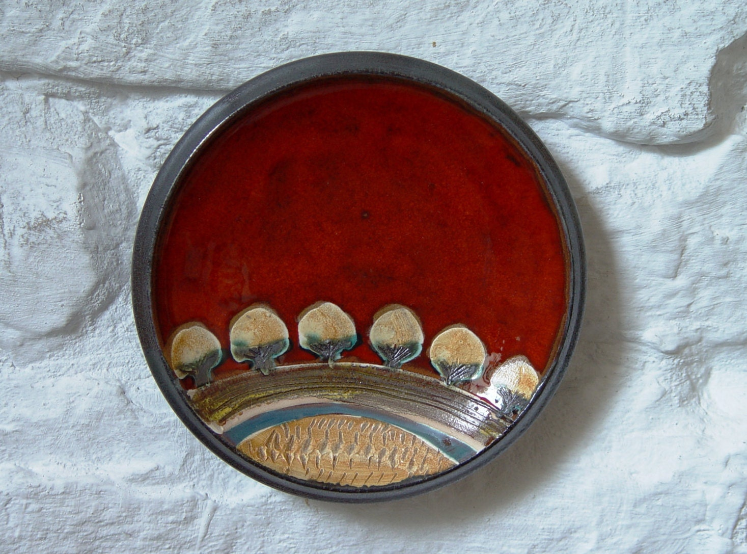 Wall Hanging Pottery Plate Kitchen Wall Decor Small Ceramic