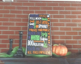 Halloween subway art sign. Home decor typography sign. Wooden, vinyl lettering.