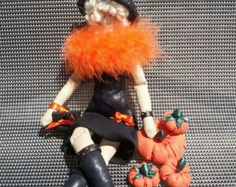 Halloween Witch / Tilda doll / pumpkin / Fabric doll / leather doll / halloween decoration / handmade