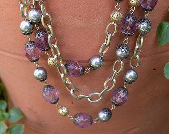Vintage Purple Crystal Three Strand Necklace
