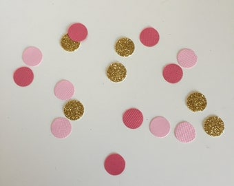 Hot Pink, Light Pink & Gold Glitter Circle Confetti - 100 pieces