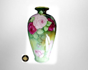Lenox very LARGE antique hp vase with roses - artist sign - ca 1911