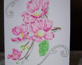 Dogwood Flower Hand Drawn Greeting Card