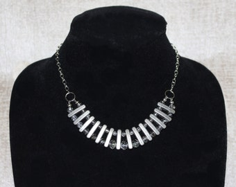 Metal Statement Necklace with Smoky Crystals
