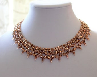 Crystal Necklace in Rose Gold Color