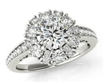 2 Carat Diamond Engagement Ring ( 1 Carat Center) 14k, 18k or Platinum - Lotus Flower Halo Ring - For Women - GIA Certified