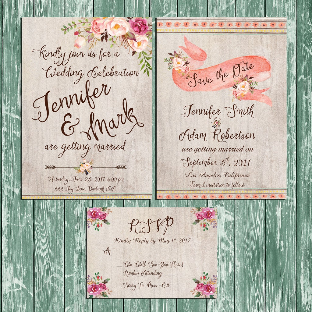 Wedding Invitations Kit: Invitation Kit Wedding Invitation Rustic Floral Wooden Boho