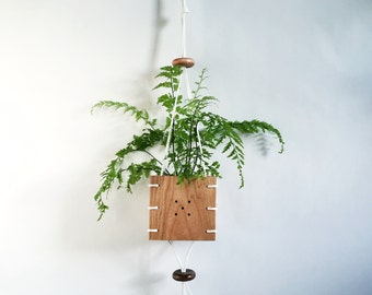 CINCH // Cherry Wood Hanging Planter with Whte Paracord